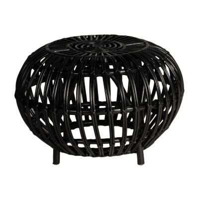 Doral Rattan Round Side Table, Black