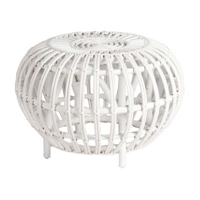 Doral Rattan Round Side Table, White