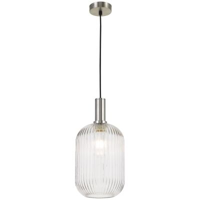 Bonura Ribbed Glass Pendant Light, Large, Clear