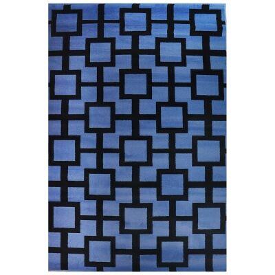 Botticelli Grid Modern Rug, 170x117cm, Blue/Black