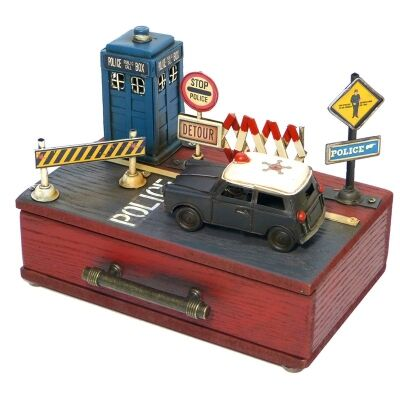 Boutica Tin and Wood Storage Box - Police
