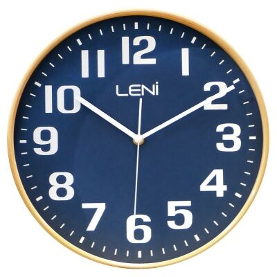 Leni Wooden Wall Clock, 28cm, Navy