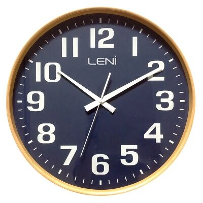 Leni Large Wooden Round Wall Clock - Navy