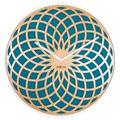 NeXtime Dream Catcher Sun Wooden Round Wall Clock - Turquoise
