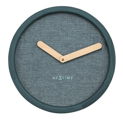 NeXtime Calm Wood and Fabric Round Wall Clock - Turquoise