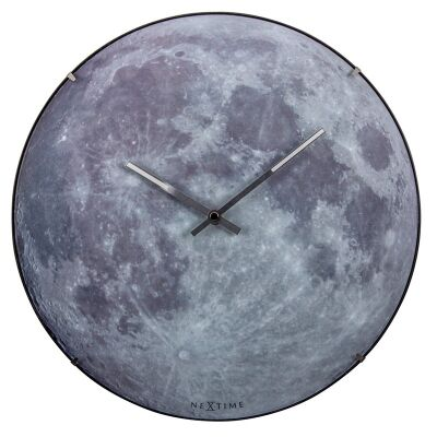 NeXtime Moon Luminous Round Dome Wall Clock