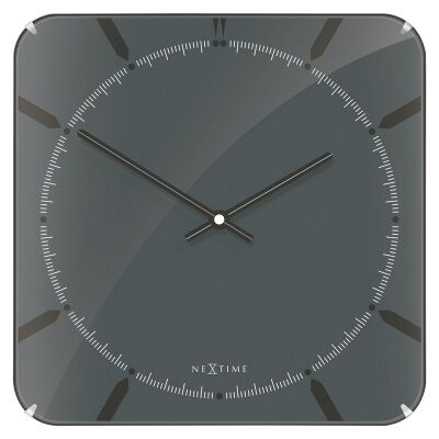 NeXtime Michael Square Dome Wall Clock - Grey