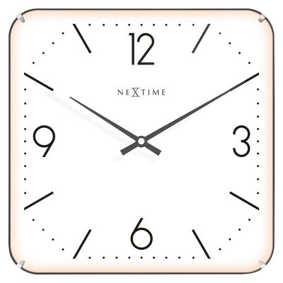 NeXtime Basic Square Dome Wall Clock - White