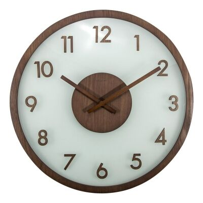 Nextime Frosted Wood and Glass Wall Clock - Brown