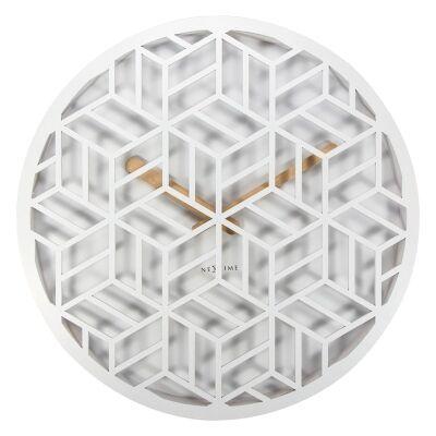 Nextime Discrete Wooden Round Wall Clock - White