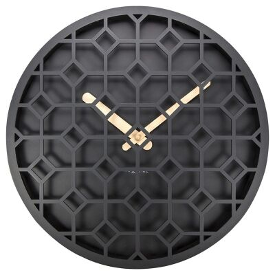 Nextime Discrete Wooden Round Wall Clock - Black