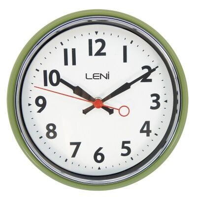 Leni Essential Metal Round Wall Clock - Sage Green