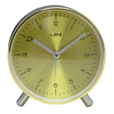 Leni Metal Table Alarm Clock - Gold