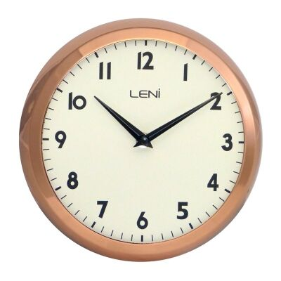 Leni School Metal Round Wall Clock - Copper