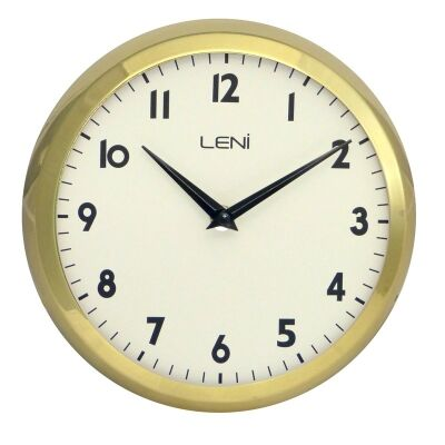Leni School Metal Round Wall Clock - Gold