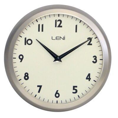 Leni School Metal Round Wall Clock - Nickel