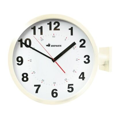 Dulton Dual Display Metal Station Clock - Ivory