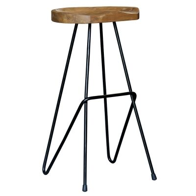 Alicio Teak Timber and Steel Saddle Counter Stool, Black
