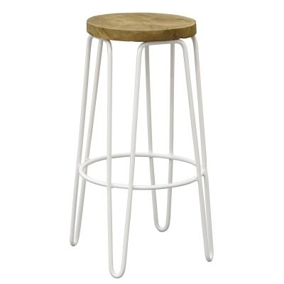 Carlisle Teak Timber and Steel Round Bar Stool - White
