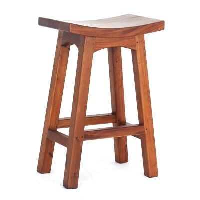 Showa Solid Mahogany Timber Counter Stool, Light Pecan