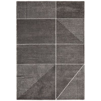 Broadway Lines Modern Rug, 200x290cm, Charcoal