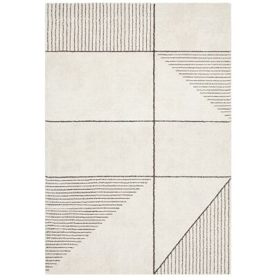Broadway Lines Modern Rug, 240x340cm, Ivory