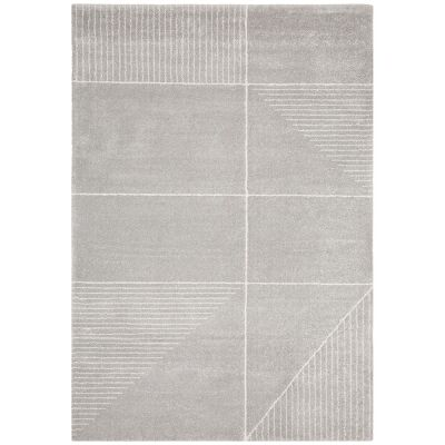 Broadway Lines Modern Rug, 200x290cm, Silver