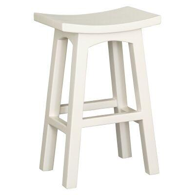 Showa Mahogany Timber Counter Stool, White