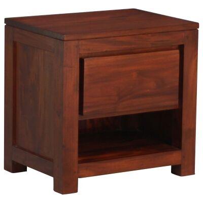 Amsterdam Solid Mahogany Timber Single Drawer Bedside - Mahogany