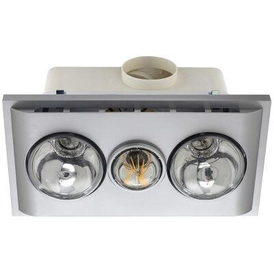 Uniglow Bathroom Heater with Exhaust and LED Light, Silver