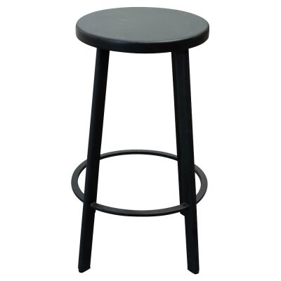 Osterby Metal Round Counter Steel, Timber Seat, Black