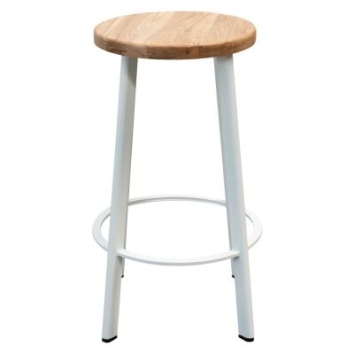 Osterby Metal Round Counter Steel, Timber Seat, Natural / White