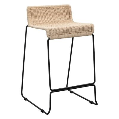 Harreby Metal Counter Stool with Cord Seat, Beige / Black