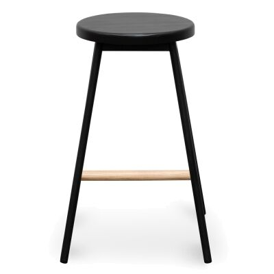 Norre Ash Timber & Steel Round Counter Stool