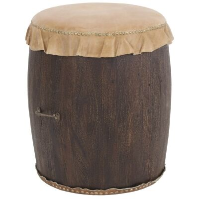 Alamein Cow Hide and Wood Drum Stool