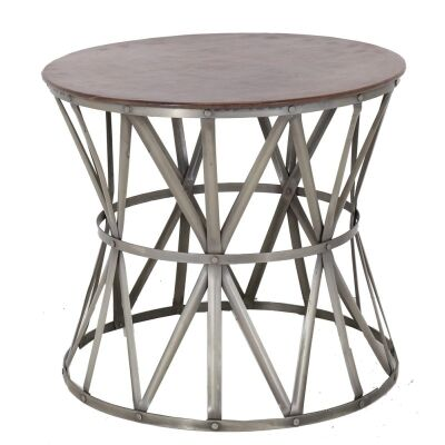 Mando Leather and Iron Round Side Table
