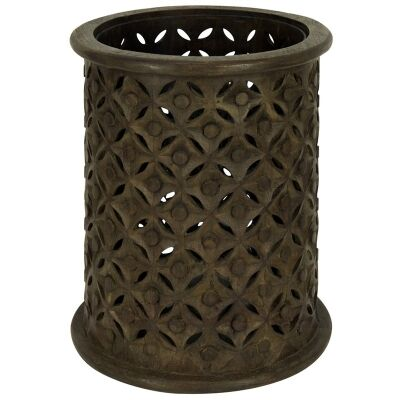 Luxor Carved Timber Hurricane Lantern, Dark Brown