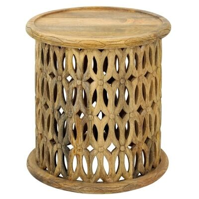 Pretoria African Carved Wooden Round Side Table - Natural