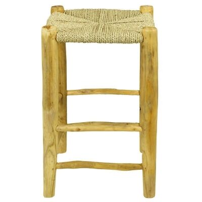 Onni Solid Timber Peasant Counter Stool with Seagrass Seat, Natural