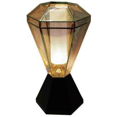 Moor Perforated Stainless Steel Diamond Table Lamp - Gold