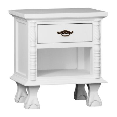 Jepara Mahogany Timber 1 Drawer Bedside Table, White