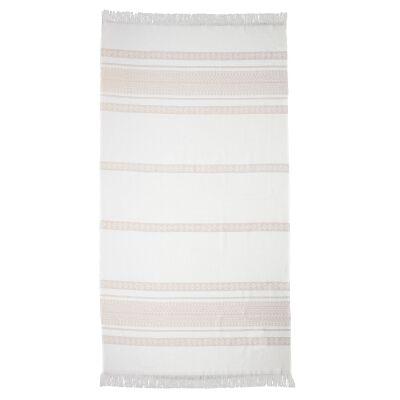 Ardor Yaz Cotton Beach Towel, Clay / White