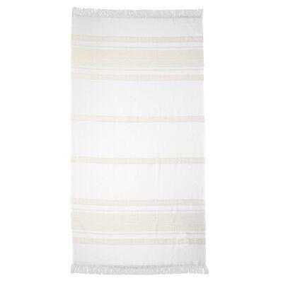 Ardor Yaz Cotton Beach Towel, Lemon / White