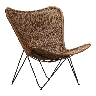 Flamenco Rattan & Steel Butterfly Chair, Antique Brown