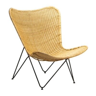Flamenco Rattan & Steel Butterfly Chair, Natural