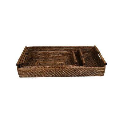 Ibarra 3 Piece Rattan Tray Set