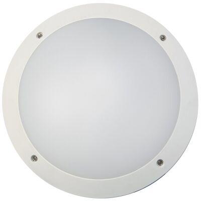 Prestons IP66 Exterior Plain LED Bunker Wall Light, Round, White