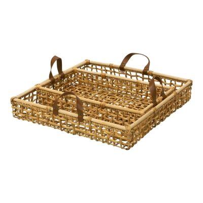 Catrina 2 Piece Water Hyacinth Tray Set, Square, Natural