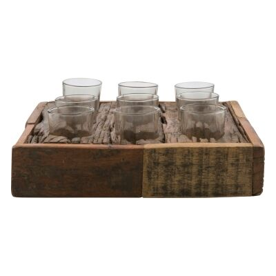 Aligarh Reclaimed Timber Base Square Tealight Holder, 9 Vessels