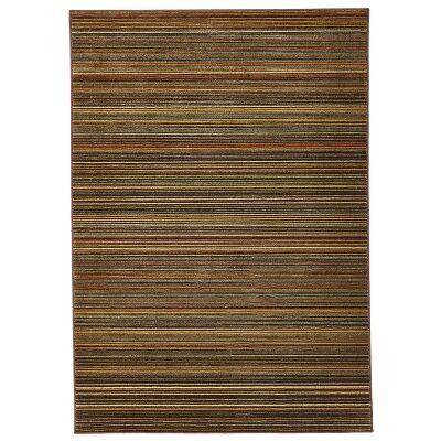 Byblos Stripe Egyptian Made Modern Rug, 330x240cm, Ochre / Brown